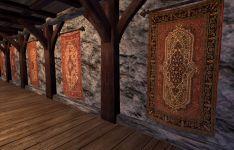 Wandteppiche in der Beispielhalle